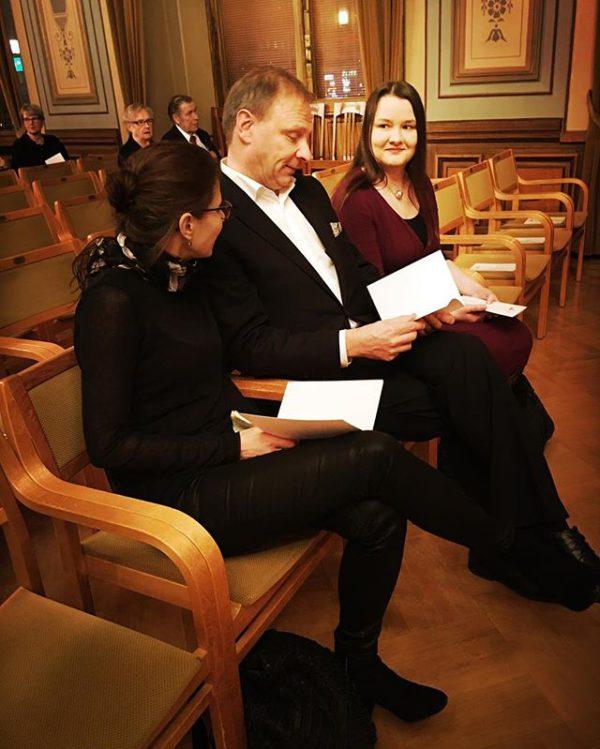 Kariston Minna Klapurin ja Mika Kotilaisen kanssa Savonia-julkistuksessa